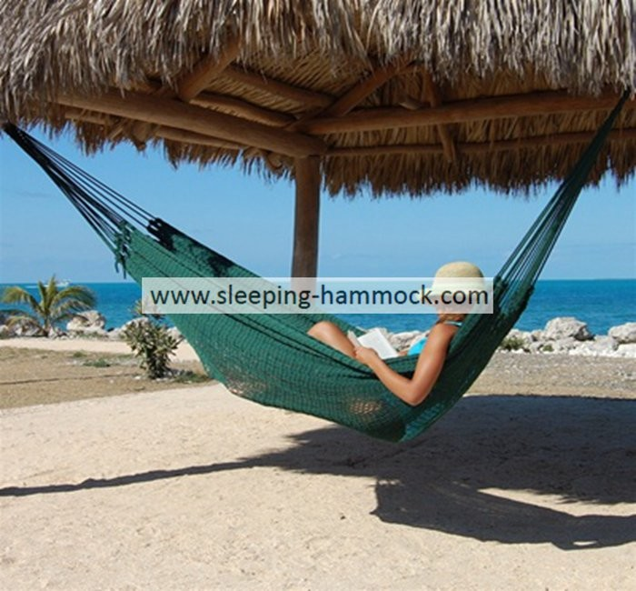 Big Pool Foldable Green Thick String Mayan Hammock Hand Woven With Stand 55 X 84 Inches