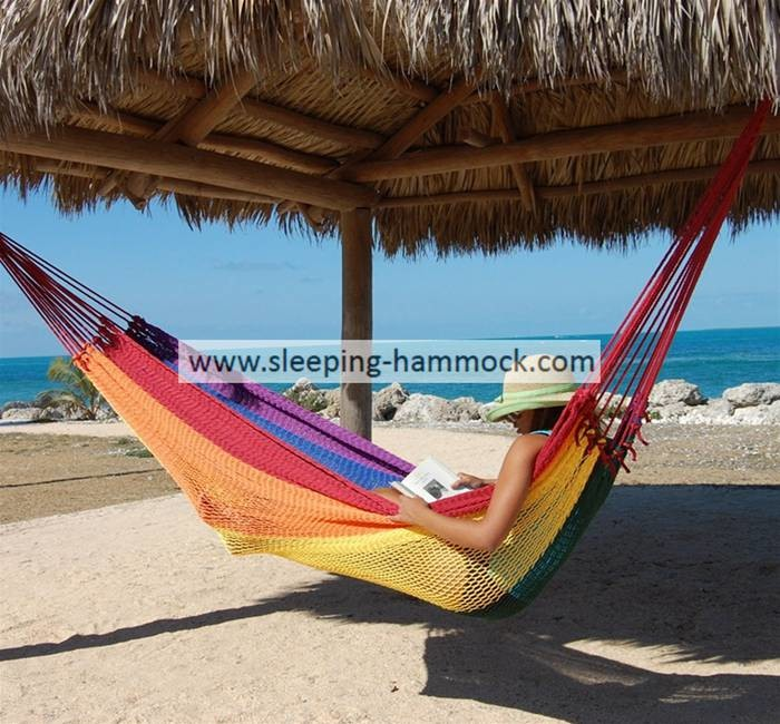 Multi Colored Rainbow Hanging Mayan Style Hammock Without Spreader Bar 320 Cm